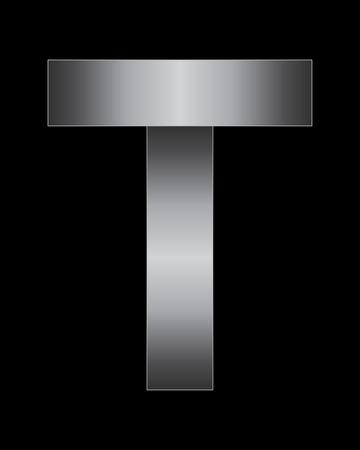 lighted: rectangular bent metal font - letter T