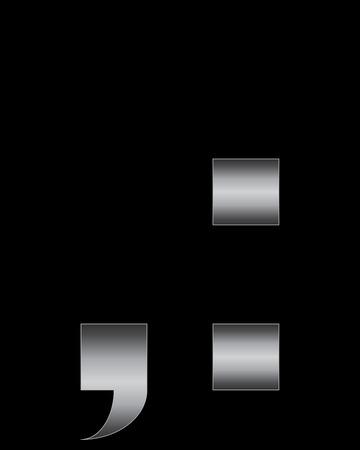 boxy: rectangular bent metal font - comma and 2 dots Illustration