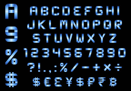 alphabet, numbers, currency and symbols pack - rectangular bent blue metal font Vector
