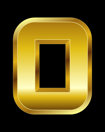 beveled corners: rectangular beveled golden font - number 0 Illustration