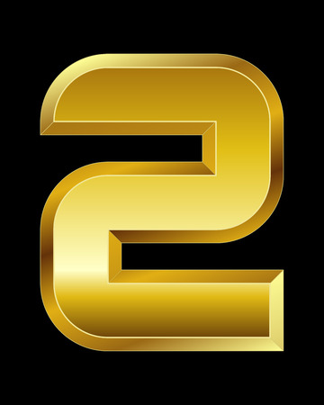 beveled corners: rectangular beveled golden font - number 2 Illustration