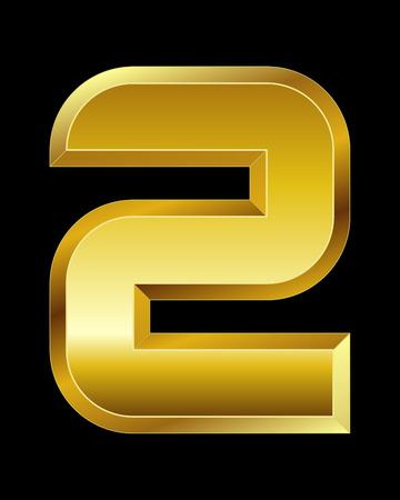 boxy: rectangular beveled golden font - number 2 Illustration