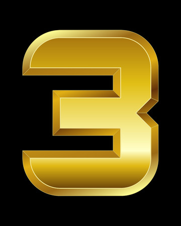 beveled corners: rectangular beveled golden font - number 3