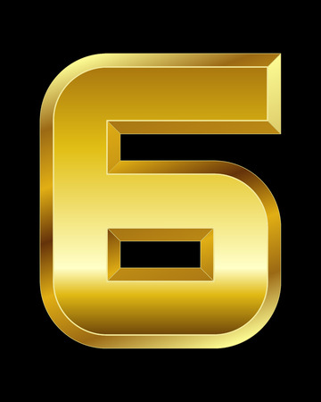 beveled corners: rectangular beveled golden font - number 6 Illustration