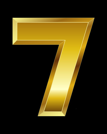 beveled: rectangular beveled golden font - number 7