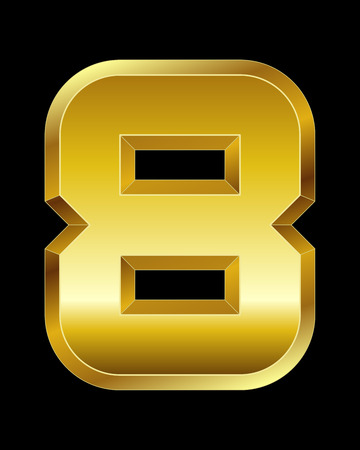 beveled corners: rectangular beveled golden font - number 8 Illustration