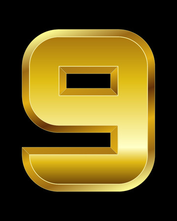 beveled: rectangular beveled golden font - number 9 Illustration