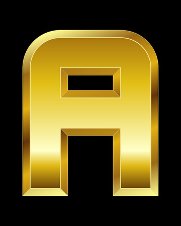 beveled: rectangular beveled golden font - letter A