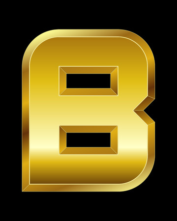 beveled corners: rectangular beveled golden font - letter B