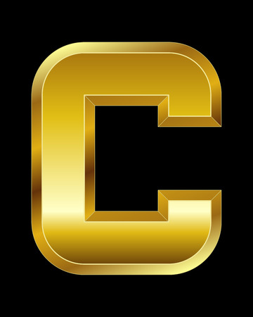 beveled: rectangular beveled golden font - letter C Illustration