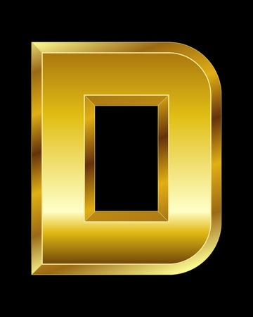 beveled corners: rectangular beveled golden font - letter D Illustration