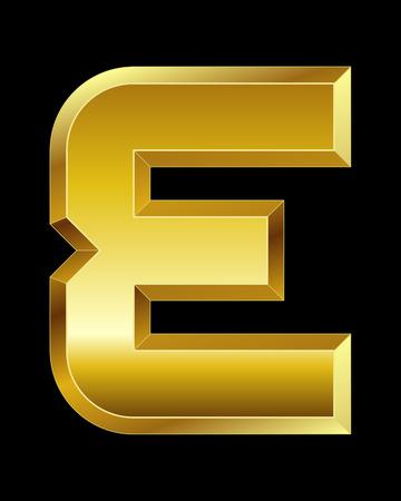 beveled corners: rectangular beveled golden font - letter E