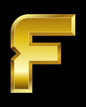 beveled corners: rectangular beveled golden font - letter F