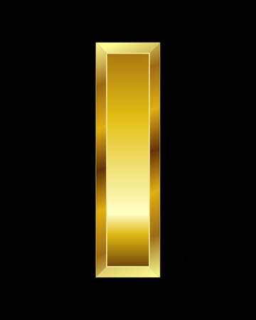 beveled: rectangular beveled golden font - letter I