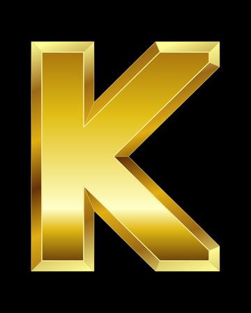 beveled corners: rectangular beveled golden font - letter K Illustration