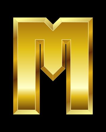 beveled corners: rectangular beveled golden font - letter M