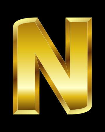 beveled: rectangular beveled golden font - letter N Illustration