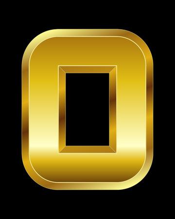 boxy: rectangular beveled golden font - letter O