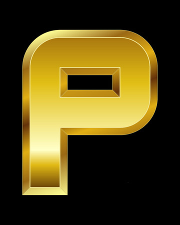 beveled: rectangular beveled golden font - letter P Illustration