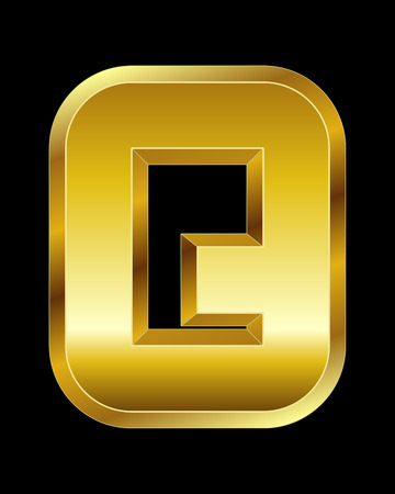 beveled: rectangular beveled golden font - letter Q Illustration