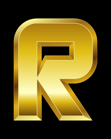 beveled: rectangular beveled golden font - letter R