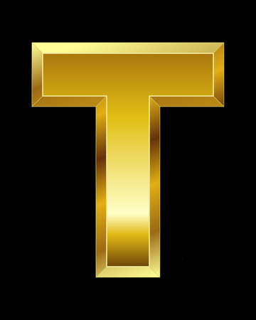 beveled corners: rectangular beveled golden font - letter T