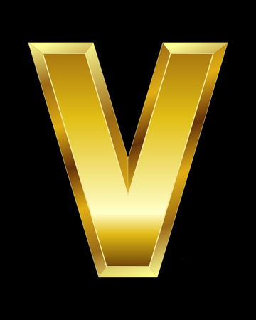 beveled: rectangular beveled golden font - letter V Illustration