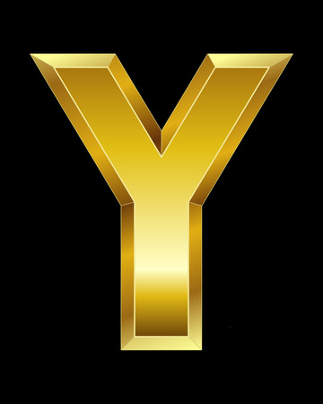 beveled corners: rectangular beveled golden font - letter Y Illustration