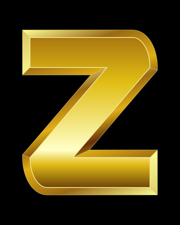 beveled: rectangular beveled golden font - letter Z