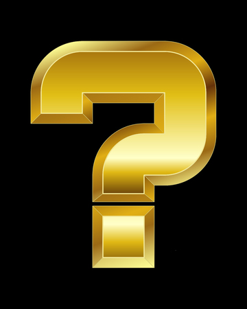 beveled: rectangular beveled golden font - question mark