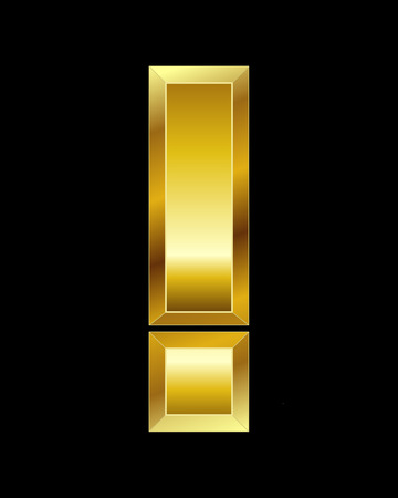beveled: rectangular beveled golden font - exclamation mark