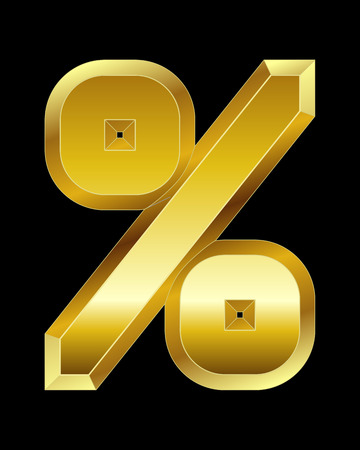 beveled: rectangular beveled golden font - percentage sign