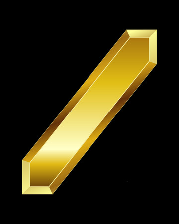 beveled corners: rectangular beveled golden font - slash sign