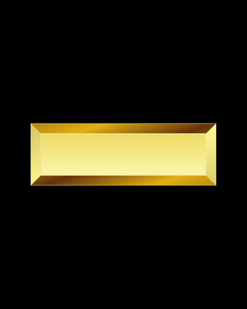 minus sign: rectangular beveled golden font - minus sign Illustration