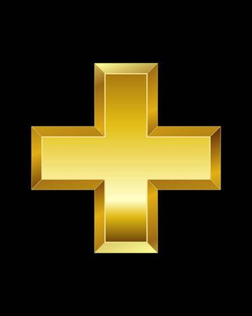 rectangular beveled golden font - plus sign 向量圖像
