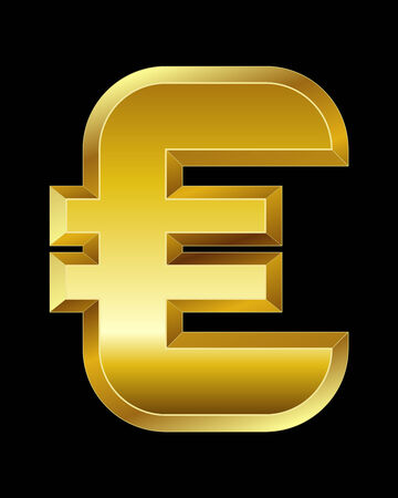 beveled: rectangular beveled golden font - euro currency symbol