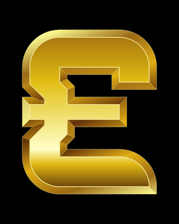 rectangular beveled golden font - pound currency symbol