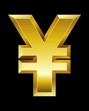yuan: rectangular beveled golden font - yen and yuan currency symbol Illustration