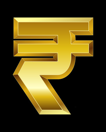 beveled corners: rectangular beveled golden font - rupee currency symbol