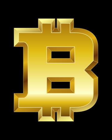 beveled corners: rectangular beveled golden font - bitcoin currency symbol