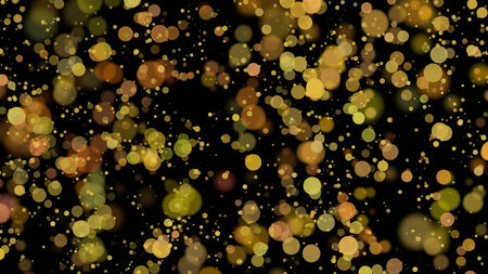 bokeh - golden circles on black background