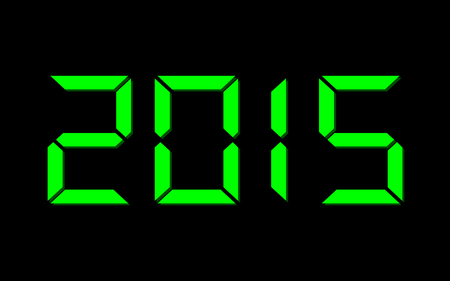 year 2015 - digital green numbers on black Stock Photo