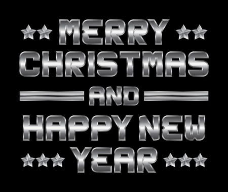 beveled corners: Merry Christmas and happy New Year - metal greeting, black background