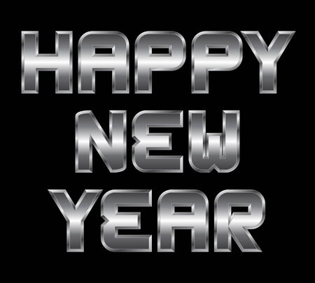 beveled corners: Happy New Year - metal greeting, black background
