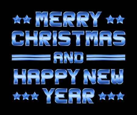 beveled corners: Merry Christmas and happy New Year - blue metal greeting, black background Illustration