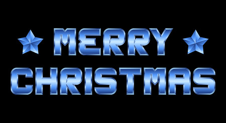 beveled corners: Merry Christmas - blue metal greeting, black background
