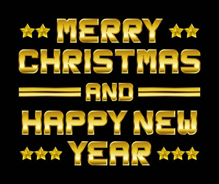 beveled corners: Merry Christmas and happy New Year - golden greeting, black background