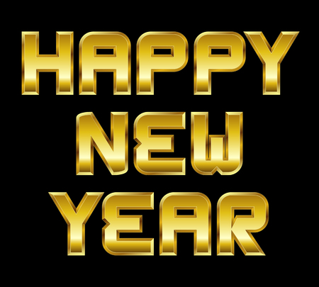 beveled corners: Happy New Year - golden greeting, black background Illustration