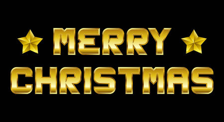 beveled corners: Merry Christmas - golden greeting, black background