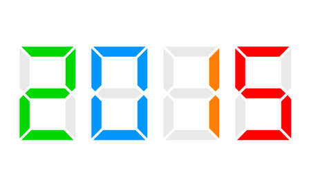 year 2015 - digital clock display, colorful